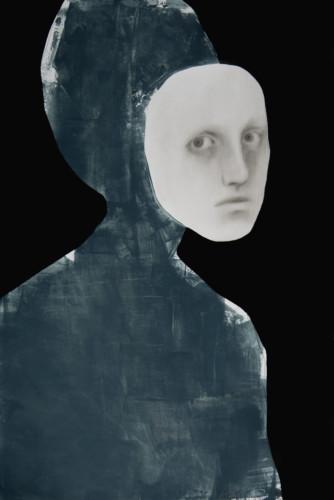 Tittle: Maschera / Ranub, Material: Charcoal, Graphite, Ink and Acrylic, Medium: Paper, Size: 70 x 100, Year: 2019