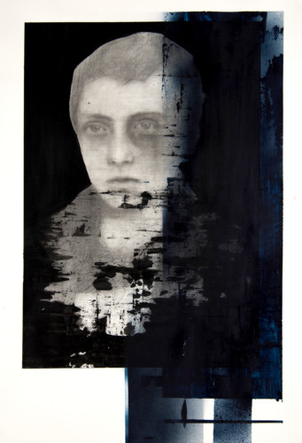Tittle: Agnosia / Vazuj, Material: Charcoal, Graphite, Ink and Acrylic, Medium: Paper, Size: 70 x 100, Year: 2018